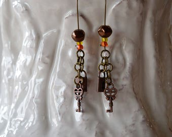 SALE, Lock N Key Earrings, Lock N Key Jewelry, Antique Brass, Bohemian Earrings, Fish Hooks, Gift For Her, Tribal Earrings,Copper Beads,Teen
