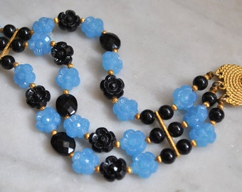 Light Blue and Black Flower Bead Bracelet - SALE