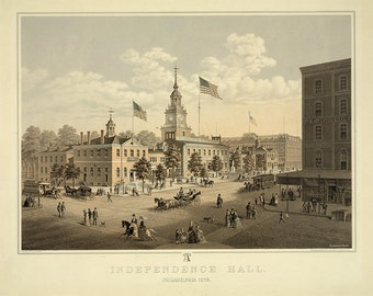 Independence Hall, Philadelphia, Philadelphia PA 1875.  Vintage restoration hardware home Deco Style old wall reproduction map print.