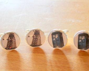Doctor Who Tardis or Dalek Cufflinks,Silver Cufflinks,Doctor Who Cufflinks,Dalek Cufflinks,Tardis Cufflink,Gift for Dad,Doctor Who Fan Gift