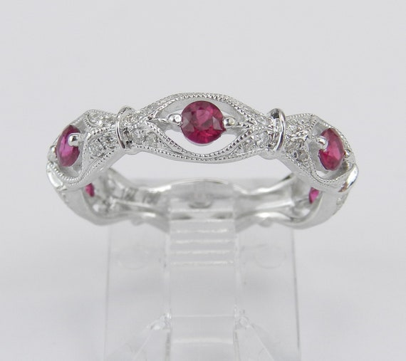 18K White Gold Ruby and Diamond Wedding Ring Anniversary Eternity Band Size 6 Stackable July Birthstone