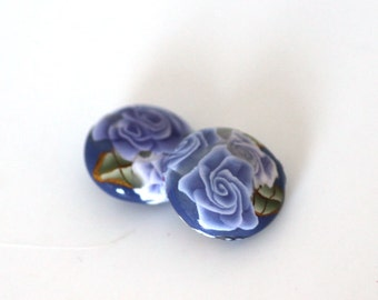 Purple Rose Beads, Polymer Clay Beads, Lentil Beads, Lavender Fields Bead Pair, 2 Pieces