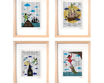 Peter Pan set of 4 art prints-Peter Pan print-Peter Pan dictionary print-nursery print-children wall art-peter pan wall art-gift idea-DP239