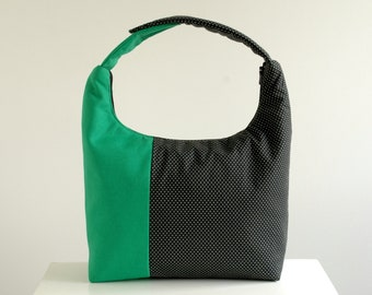 Insulated Lunch Bag Colorblock, Women Lunch Bag, Colorblock Small Tote, Work Lunch Bag, Lunch Tote-Emerald Black and White Polka Dot