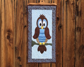 """Owl Appliquéd Wall Hanging 14"""" x 28"""" (Wooden quilt hanger sold separately.)"""