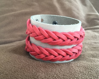 Men's or Women's Gift Leather Bracelet Cuff Soft Grey Top Grain Leather with Double Red Braid Top Grain Leather Accent