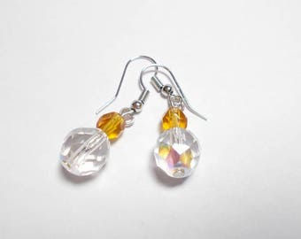 Dangling earrings faceted Czech crystal AB and amber