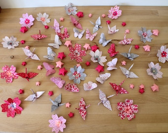 80 origami home decor, table decorations (baptism, baby shower, wedding)