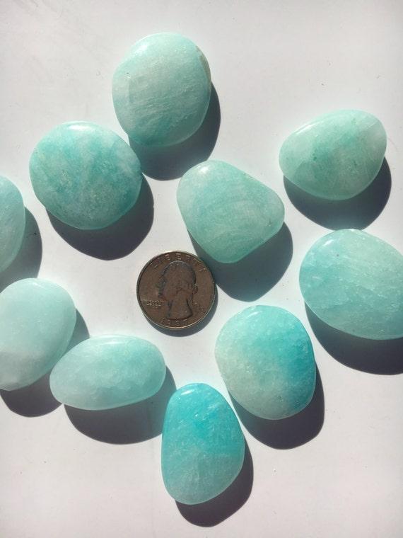 Beautiful Tumbled BLUE ARAGONITE Healing Gemstone// Blue Aragonite Pillow// Tumbled Stones// Healing Crystals// Healing Tools/ Throat Chakra