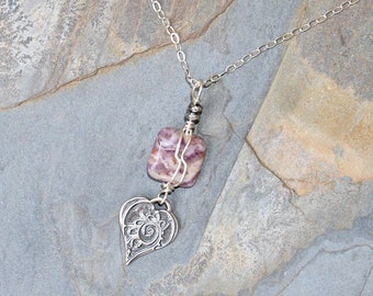 Heart Necklace, Lavender Stone Necklace, Wire Wrapped Necklace, Lepidolite Necklace, Purple Love Necklace, Valentine's Day Necklace
