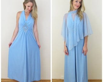 30% Off Sale 70s Light Blue Cut Out Halter Maxi Dress with Sheer Cape, Size XS to Small