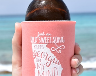 Georgia On My Mind Can Cooler Beer Cozy in Peach
