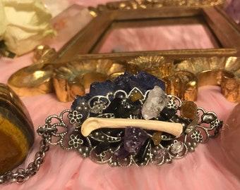 Bobcat bone/ crystal necklace