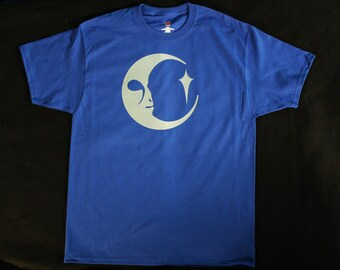 Alien Moon Face T-shirt Royal Blue