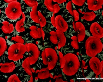 One Half Yard Cut Quilt Fabric, Large Bright Red Poppies and Buds by CHONG-A HWANG for Timeless Treasures, Sewing, Quilting & Craft supplies