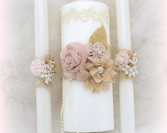Wedding Unity Candle Set Ivory Rose Blush Champagne Gold, Wedding Candles, Vintage Wedding, Elegant Candle Set