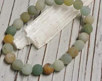 Natural Frosted Amazonite Stone Bracelet, Meditation, Stackable, Stretch Bracelet, Boho, Natural Stone