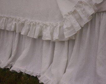 Linen dust ruffle with mini ruffles, linen bedskirt, bed skirts, vintage ruffles, shabby chic bedding, linen bed skirt, queen bed skirt