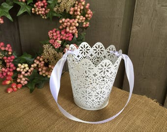 Lace basket/lace flower girl basket/metal lace basket/metal lace flower girl basket/ rustic flower girl basket/industrial flower girl basket