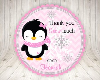 Penguin Winter ONEderland Birthday Party Favor Tags Party Tags Girl Penguin Party Printable