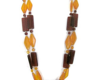 Vintage Mod Necklace, 1960's Lucite Bead Necklace, Mod Beads, Amber, Yellow Necklace, 1960's Necklace, Jewelry
