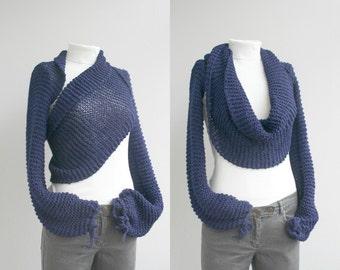 Long Sleeve Navy Blue  Bolero  Scarf  Shawl  Neckwarmer gift for Women Fashion Mom Under100