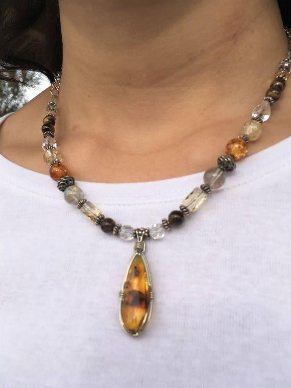 PERSONAL POWER, Chakra Balancing, Sedona charged, Cognac Amber Pendant, Healing Jewelry, Metaphysical, Crystal, Reversible, Matching