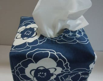 Ready To Ship -  Large White Flower Print-  Fabric Tissue Box Cover