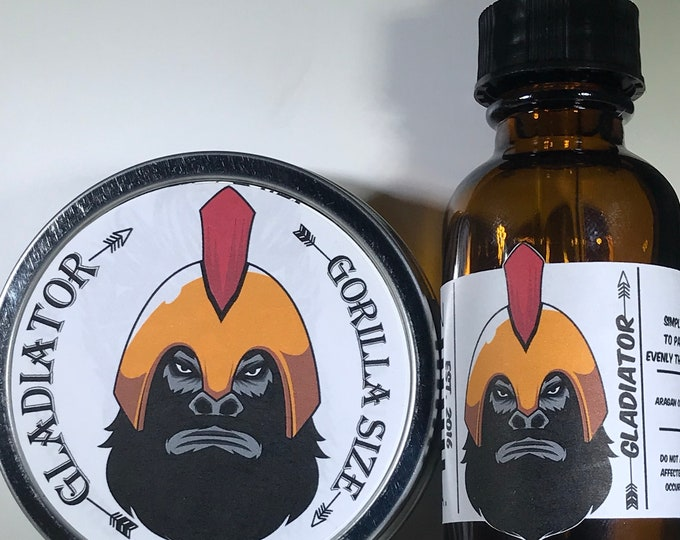 Gladiator All Natural Moisturizer Beard Balm & Oil Set, Bearded Man Gift, Father's Day Gift, Mens Beard Products-GORILLA SIZE