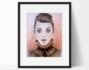 "Fashion Illustration, Girly Wall Art, Copic Art, Marker Drawing, Copic Illustration, Fashion Print Titled ""Freckles"""
