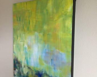 Morning Horizon I, Original Painting by Debby Neal -- Abstract Modern Horizon, Yellow Abstract Original Painting, Modern Landscape Wall Art