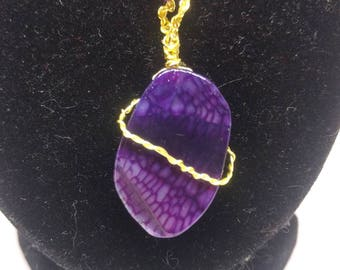 Purple Dragon's Vein Agate Wire Wrapped Necklace - Healing Stone -