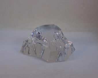 Val St. Lambert Crystal Iceberg Paperweight with Cow Impression