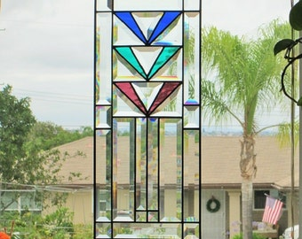 "Mission Style|Art Deco ""Floral Harmony"" Stained Glass