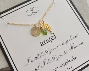 Loss of a Child Monogrammed Angel Wing Necklace with Gemstone/Birthstone Briolette.....Mother, Grandmother