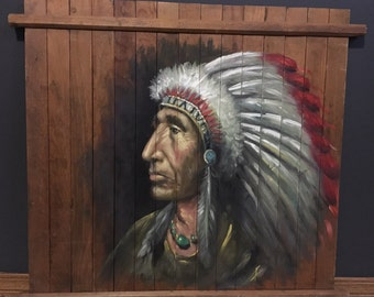 Indian Chief Painting on Wooden Pallet// Native Art// Pallet Painting// Native American Art