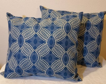 Pair Blue White Pillow Covers with Inserts Geometric Design