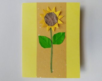 Handmade Sunflower Origami Card Blank Yellow with Japanese Paper