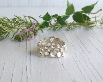 Silver Honeycomb Ring Band, Beehive Ring, Real Honeycomb