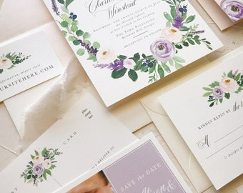 Elegant Formal Wedding Invitation, Fall Wedding Invitations, Purple Lavender Lilac Floral Samples, SAMPLE SET