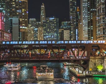 Night on the Chicago River. Chicago, IL. Photography Print. Landscape. Wall Art. Home Decor. Urban. Nightscape. Look up. Skyline