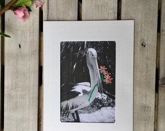 Hand embroidered greeting card, black and white photography, pelican bouquet