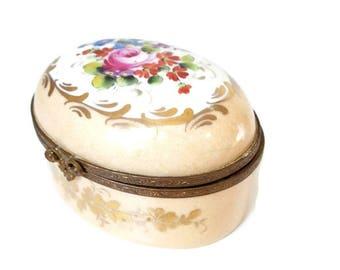 vintage handpainted porcelain pill box, jewelry box, trinket box