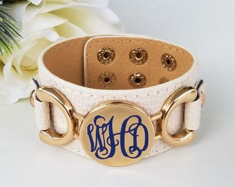 Monogram leather bracelet, monogram bracelet, personalized leather bracelet, ladies leather bracelet, initial bracelet, monogram leather