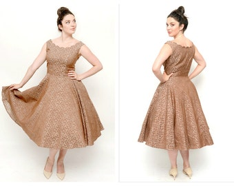 Vintage New Look 50s Dress- 32 Waist, Vintage Prom, M/L, Scallop, Taupe