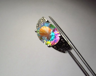 Stunning Opalescent Genuine Quartz in Intricate Sterling Silver Ring