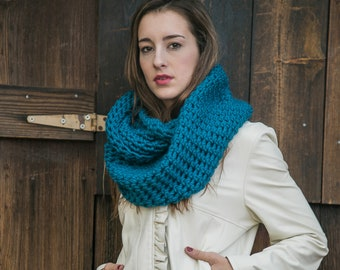 Wool Infinity Scarf // Holiday Gifts for Her // Hooded Loop Scarf // THE MODERN LOOP shown in Turquoise