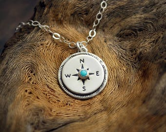 Turquoise Compass Charm Necklace - Small Sterling Silver Charm - Adventure Travel Wanderlust Jewelry - Explorer Gift