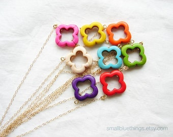 Rainbow Clover Necklace. Lucky Shamrock. St Patrick's Day. Bridesmaid Gift. 14K GF Chain or Sterling Silver Chain. Choose Your Color.