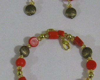 Red and Gold Bracelet and Earring Set